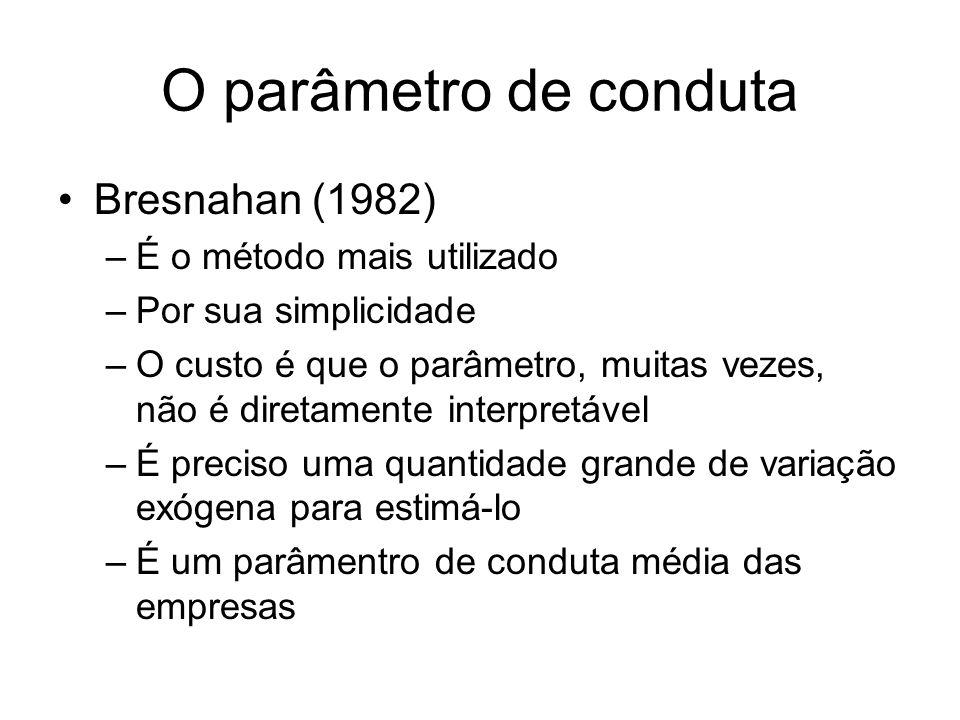 O parâmetro de conduta Bresnahan (1982) É o método mais utilizado