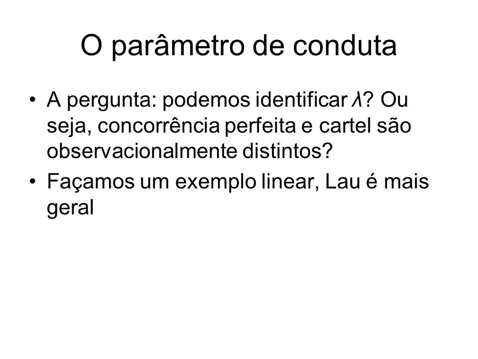 O parâmetro de conduta A pergunta: podemos identificar λ Ou seja, concorrência perfeita e cartel são observacionalmente distintos