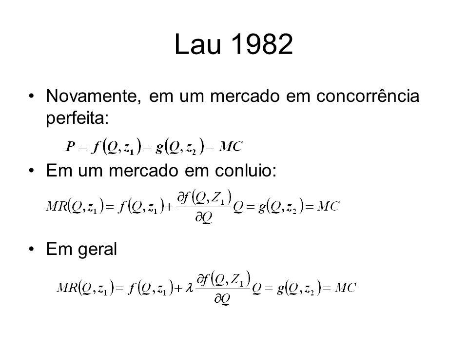 Lau 1982 Novamente, em um mercado em concorrência perfeita: