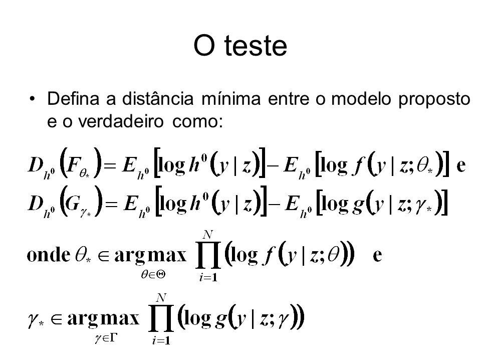 O teste Defina a distância mínima entre o modelo proposto e o verdadeiro como: