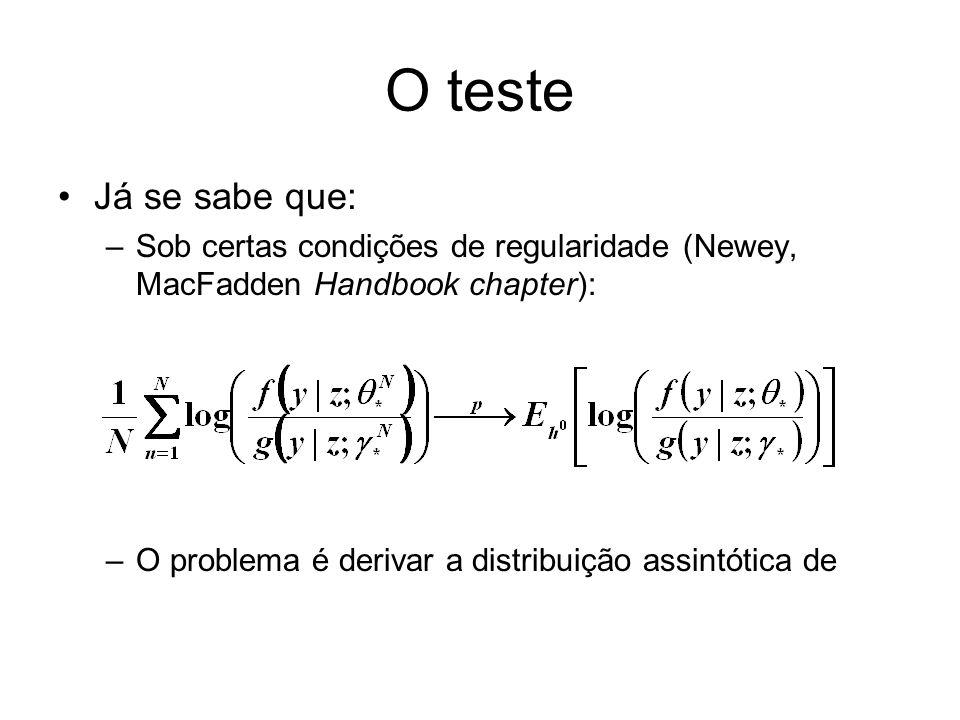 O testeJá se sabe que: Sob certas condições de regularidade (Newey, MacFadden Handbook chapter): O problema é derivar a distribuição assintótica de.