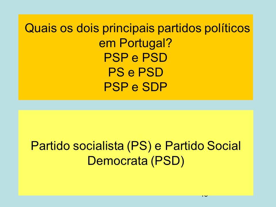 Partido socialista (PS) e Partido Social Democrata (PSD)