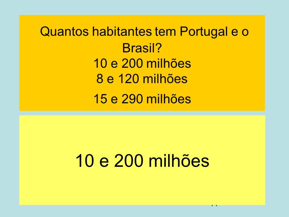Quantos habitantes tem Portugal e o Brasil