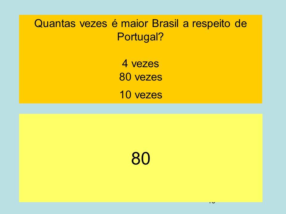 Quantas vezes é maior Brasil a respeito de Portugal