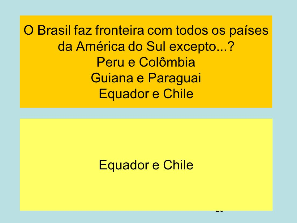 O Brasil faz fronteira com todos os países da América do Sul excepto