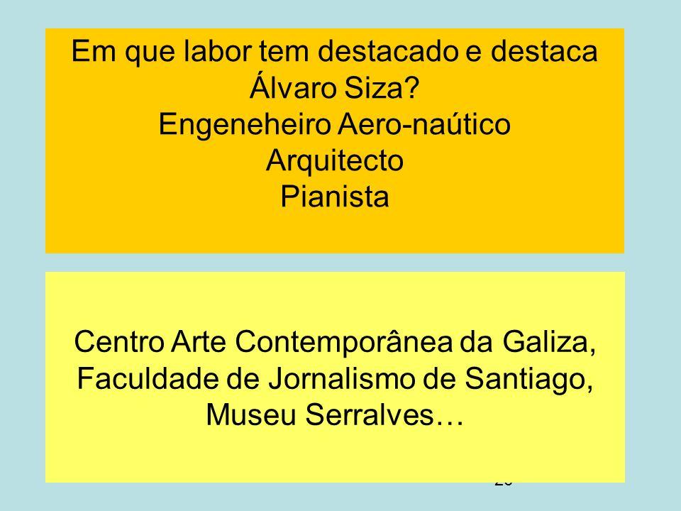 Em que labor tem destacado e destaca Álvaro Siza