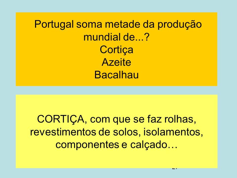 Portugal soma metade da produção mundial de... Cortiça Azeite Bacalhau