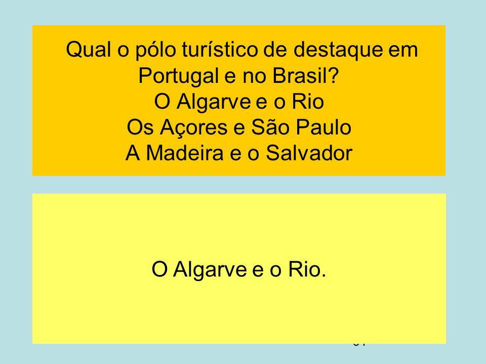 Qual o pólo turístico de destaque em Portugal e no Brasil