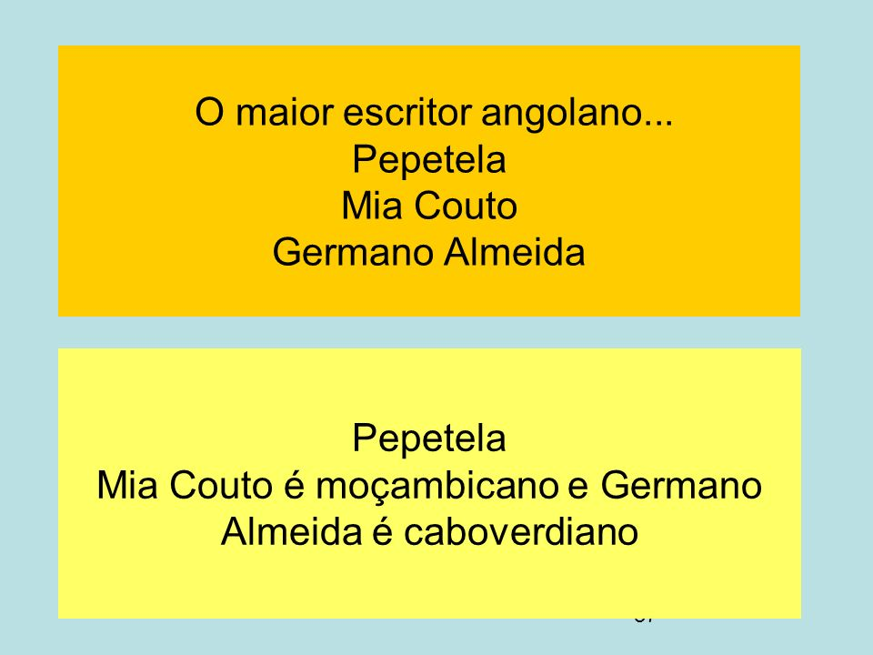 O maior escritor angolano... Pepetela Mia Couto Germano Almeida