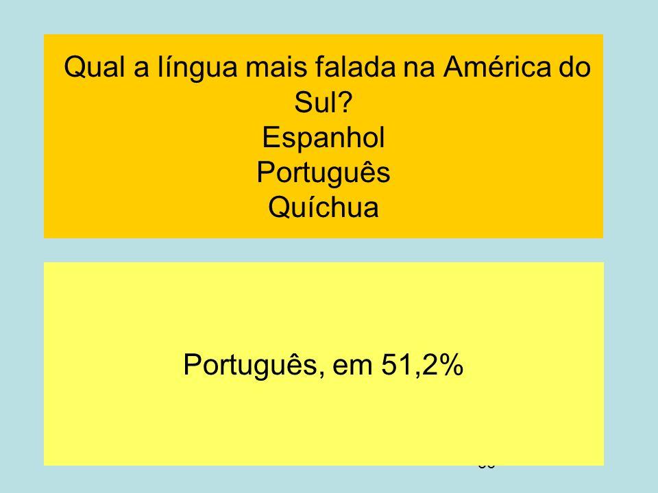 Qual a língua mais falada na América do Sul Espanhol Português Quíchua