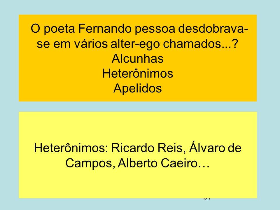 Heterônimos: Ricardo Reis, Álvaro de Campos, Alberto Caeiro…