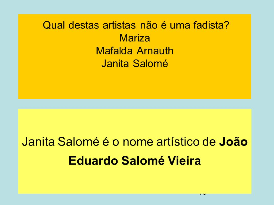 Janita Salomé é o nome artístico de João Eduardo Salomé Vieira