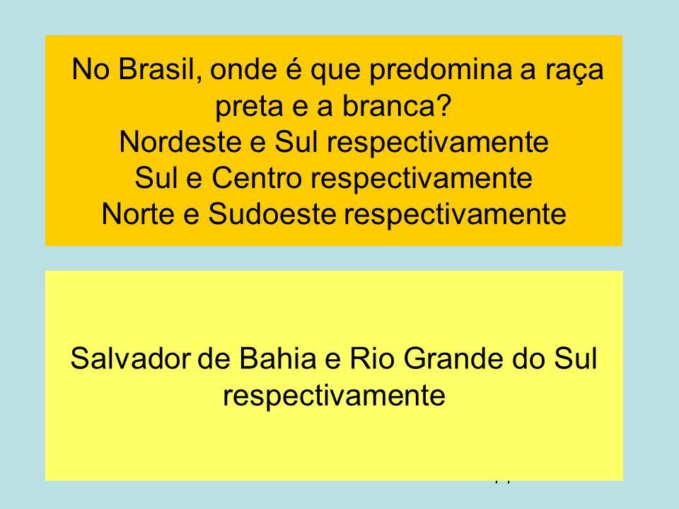 Salvador de Bahia e Rio Grande do Sul respectivamente
