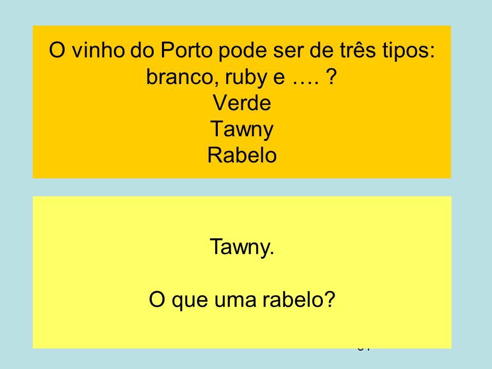 O vinho do Porto pode ser de três tipos: branco, ruby e …