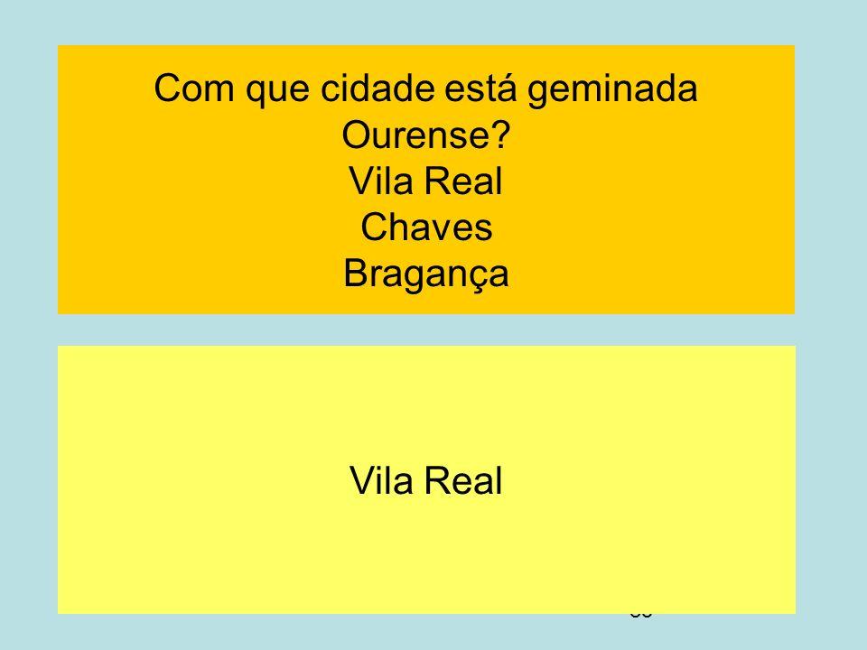 Com que cidade está geminada Ourense Vila Real Chaves Bragança
