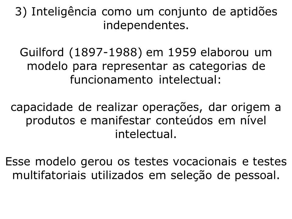 3) Inteligência como um conjunto de aptidões independentes