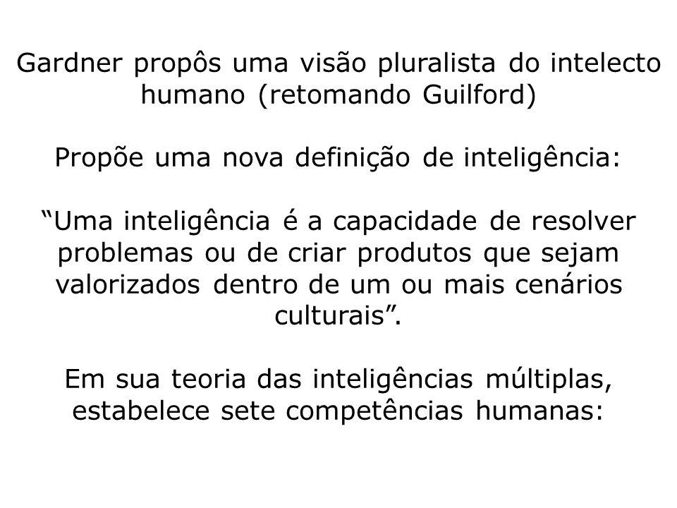 Gardner propôs uma visão pluralista do intelecto humano (retomando Guilford) Propõe uma nova definição de inteligência: Uma inteligência é a capacidade de resolver problemas ou de criar produtos que sejam valorizados dentro de um ou mais cenários culturais .
