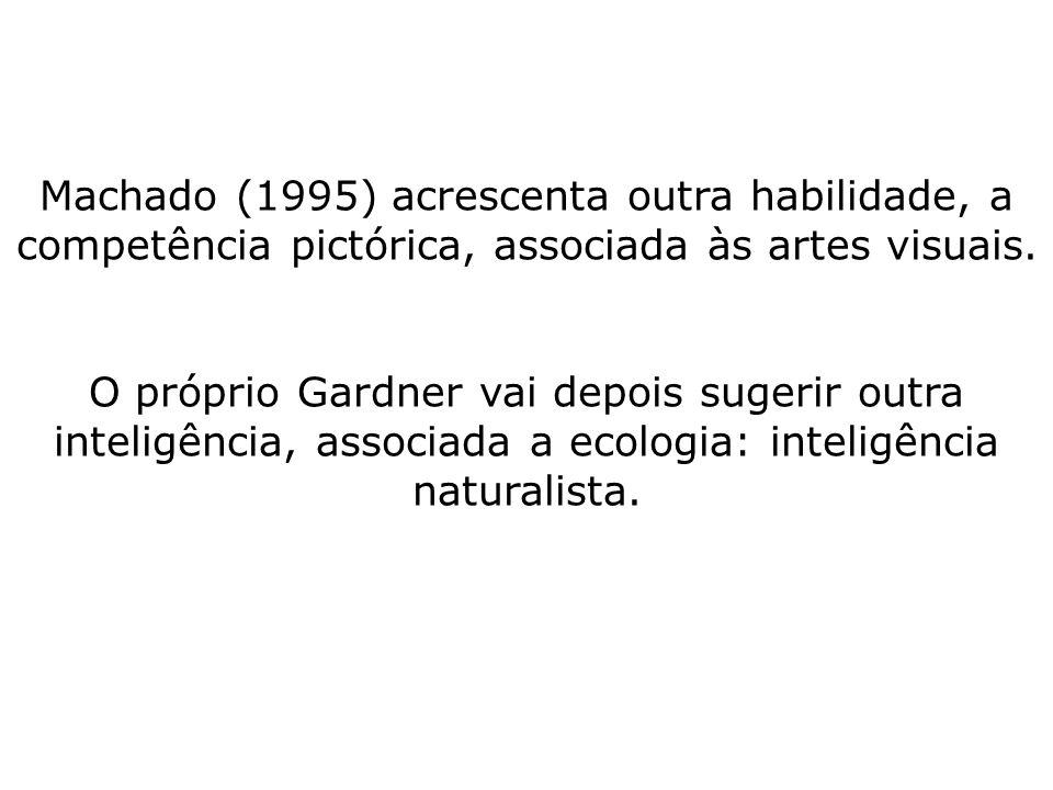 Machado (1995) acrescenta outra habilidade, a competência pictórica, associada às artes visuais.