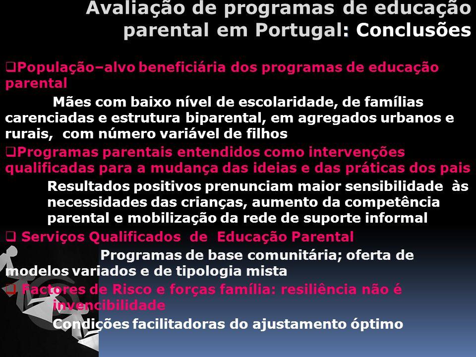 Avaliação de programas de educação parental em Portugal: Conclusões