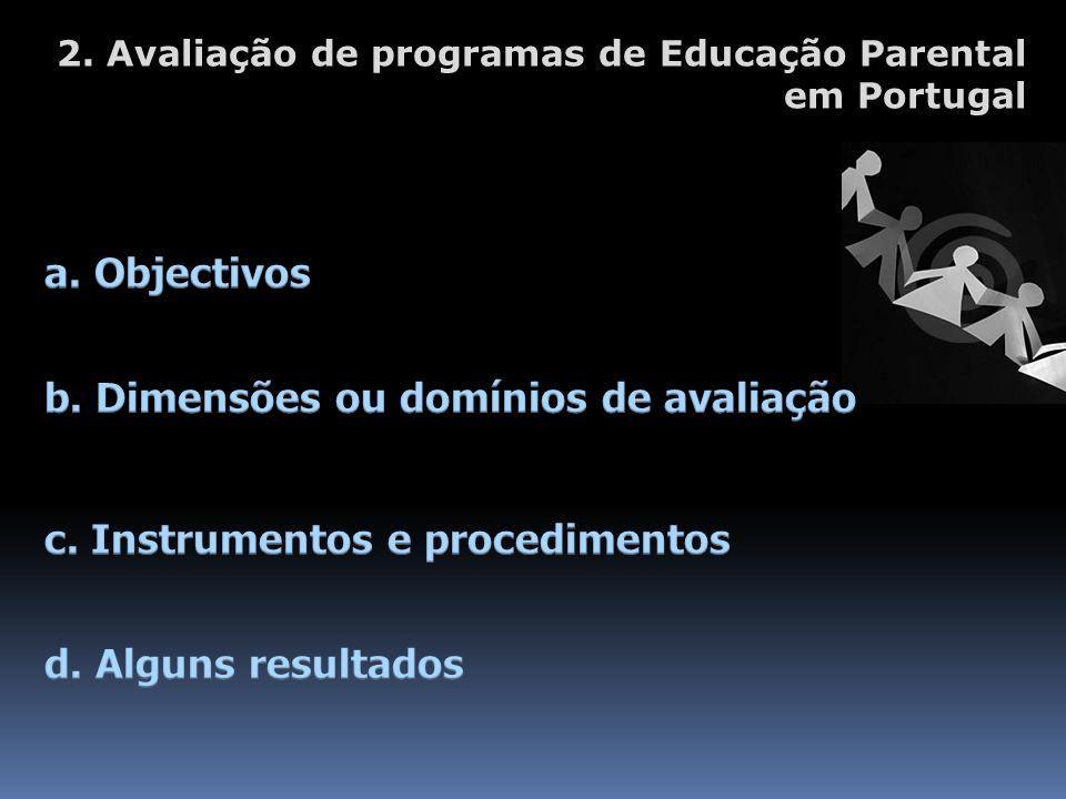 b. Dimensões ou domínios de avaliação