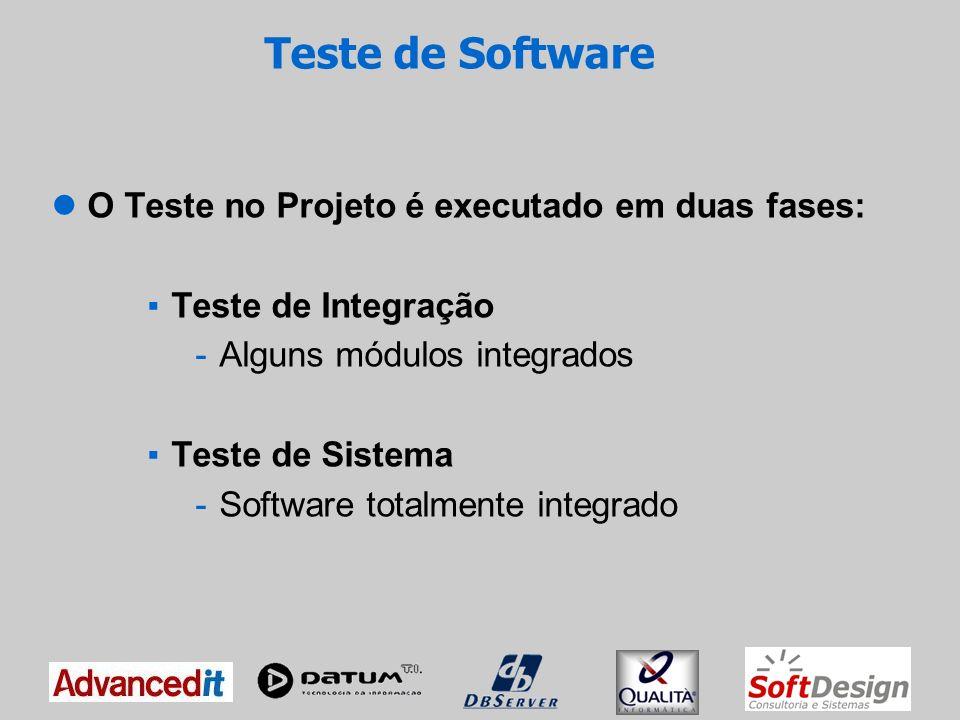 Teste de Software O Teste no Projeto é executado em duas fases: