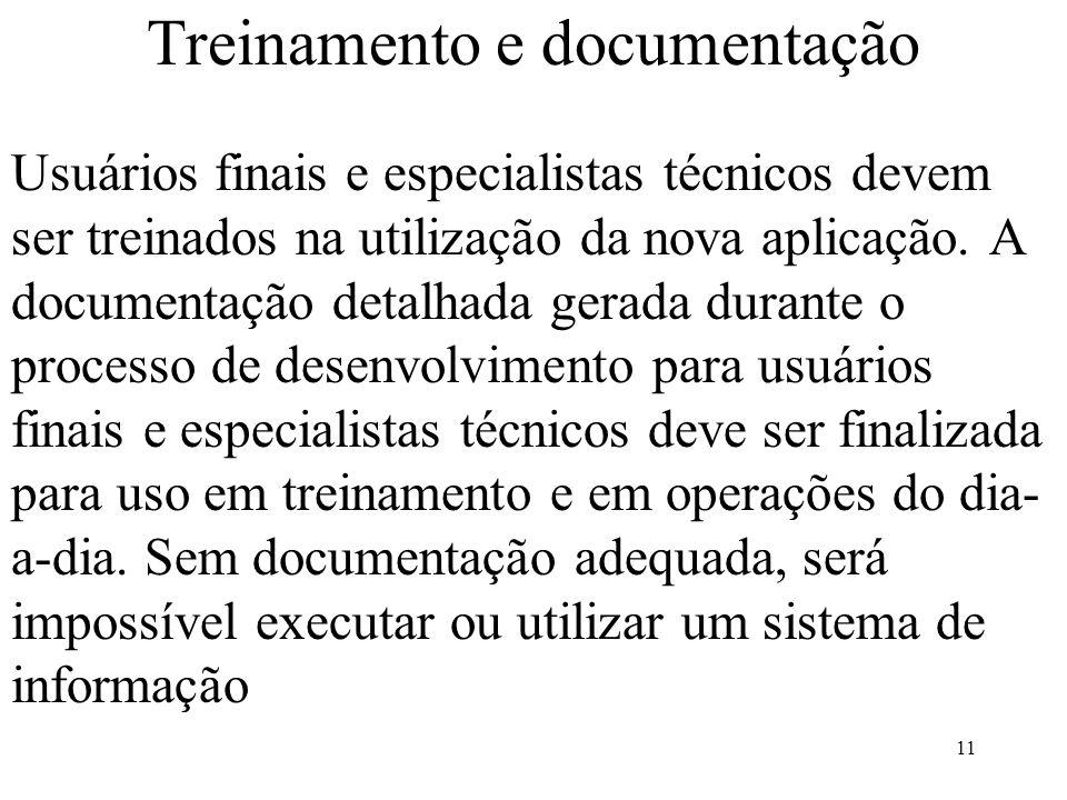 Treinamento e documentação