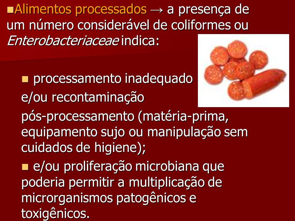 Alimentos processados → a presença de um número considerável de coliformes ou Enterobacteriaceae indica: