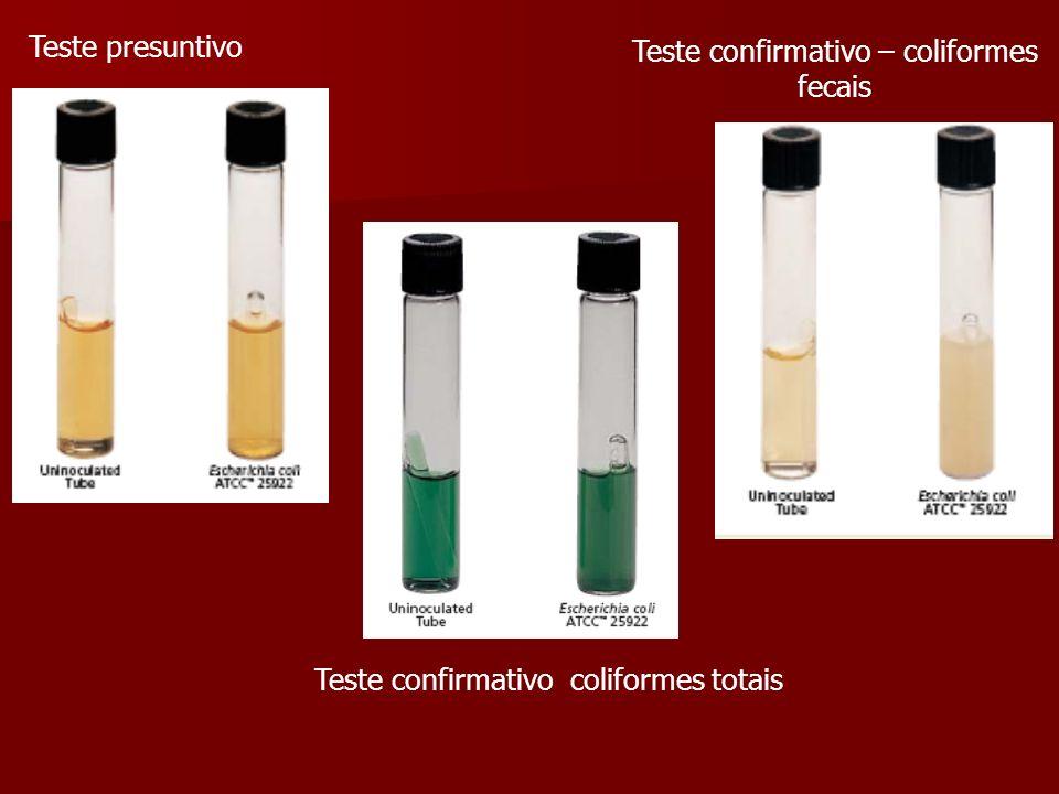 Teste presuntivo Teste confirmativo – coliformes fecais Teste confirmativo coliformes totais