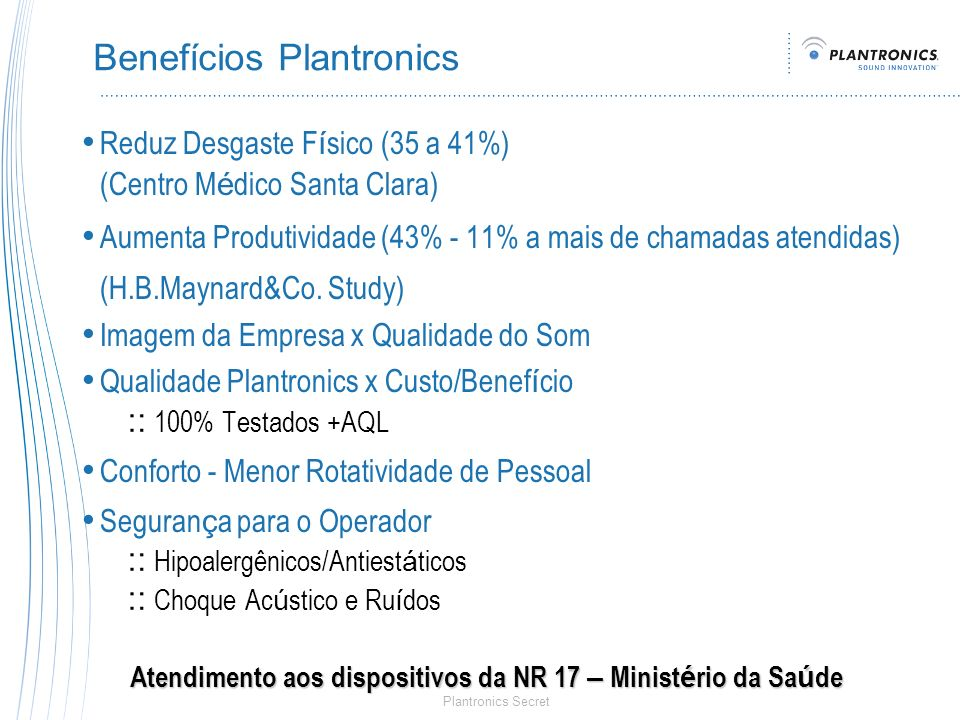 Benefícios Plantronics