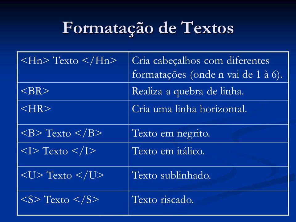 Formatação de Textos <Hn> Texto </Hn>