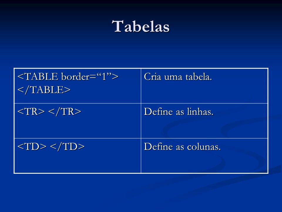 Tabelas <TABLE border= 1 > </TABLE> Cria uma tabela.