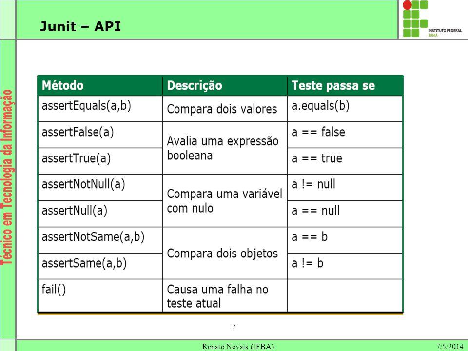Junit – API 7 Renato Novais (IFBA) 30/03/2017 7