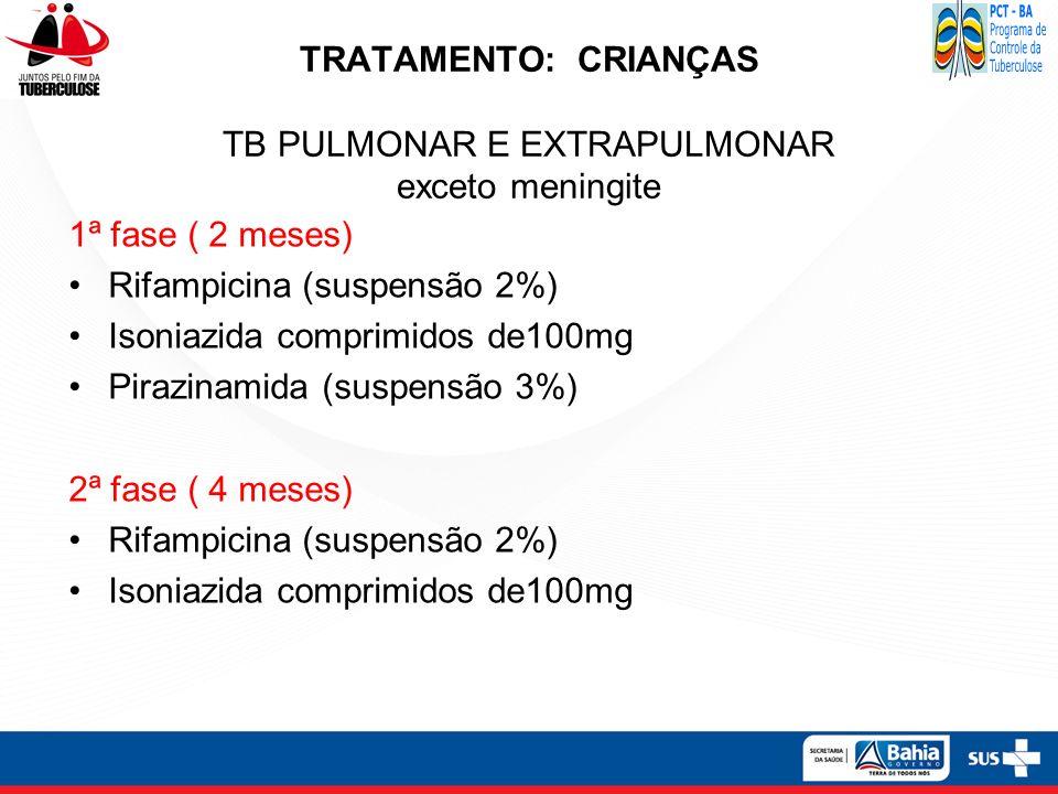 TRATAMENTO: CRIANÇAS TB PULMONAR E EXTRAPULMONAR exceto meningite
