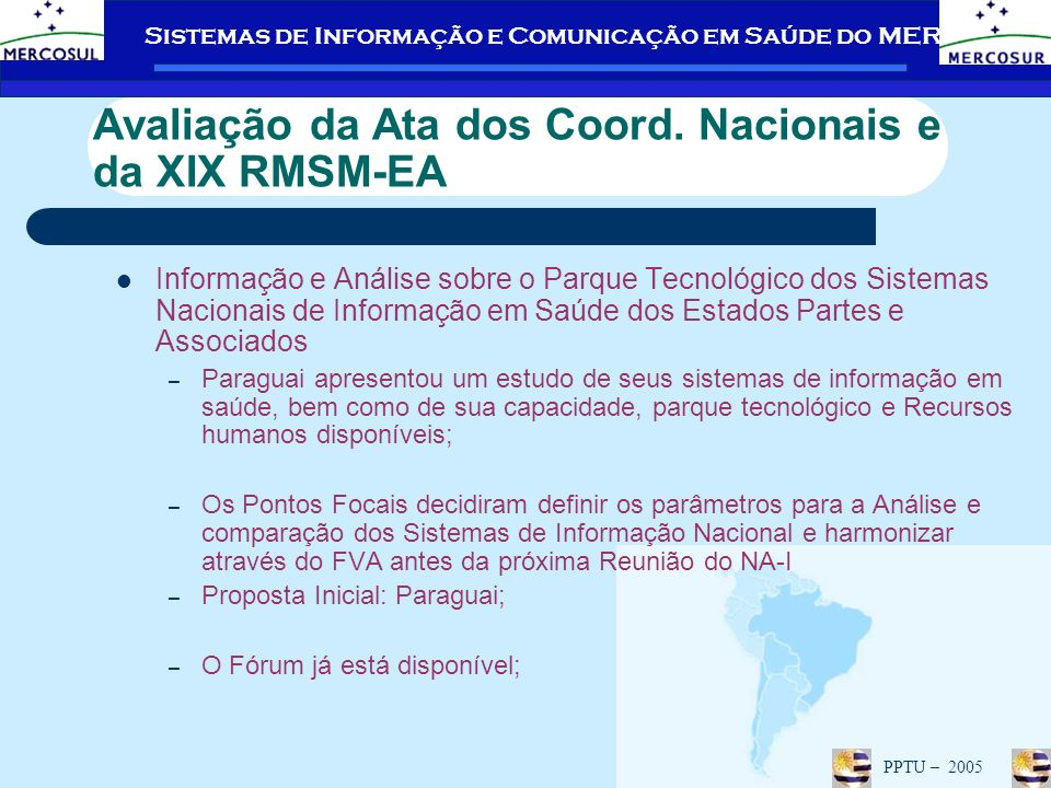Avaliação da Ata dos Coord. Nacionais e da XIX RMSM-EA