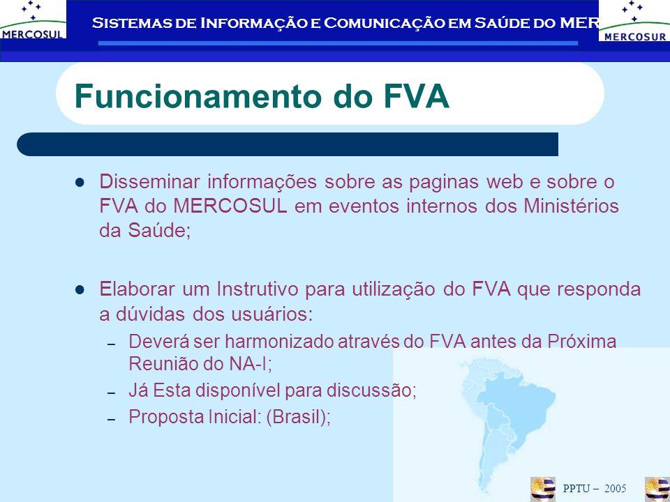 Funcionamento do FVA Disseminar informações sobre as paginas web e sobre o FVA do MERCOSUL em eventos internos dos Ministérios da Saúde;