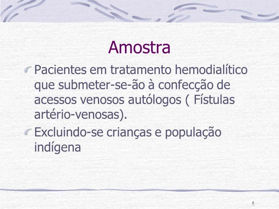 Amostra Pacientes em tratamento hemodialítico que submeter-se-ão à confecção de acessos venosos autólogos ( Fístulas artério-venosas).