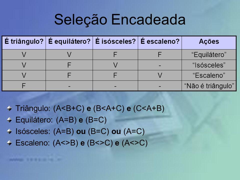 Seleção Encadeada Triângulo: (A<B+C) e (B<A+C) e (C<A+B)