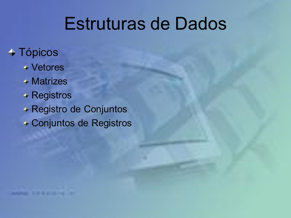 Estruturas de Dados Tópicos Vetores Matrizes Registros