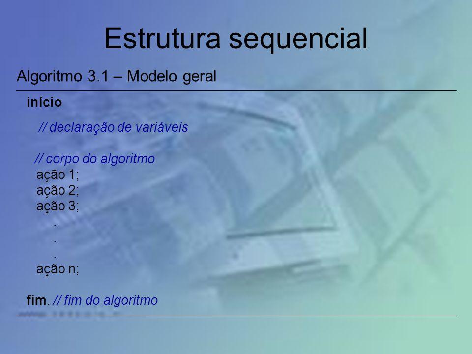 Estrutura sequencial Algoritmo 3.1 – Modelo geral