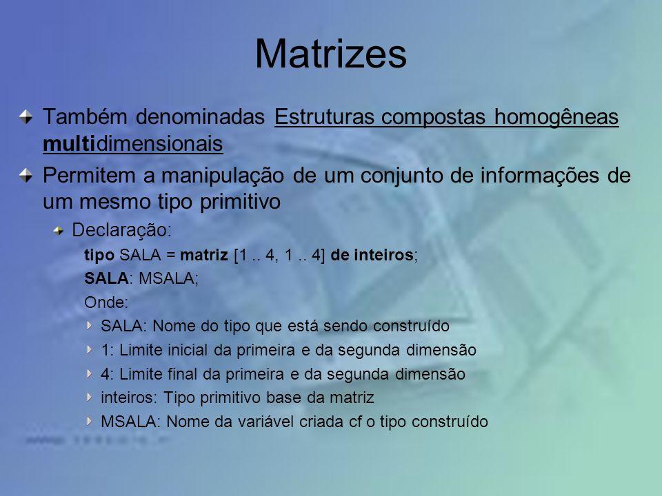 Matrizes Também denominadas Estruturas compostas homogêneas multidimensionais.