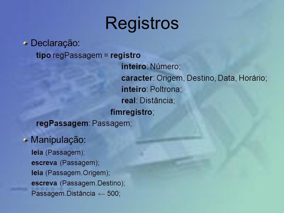 Registros Declaração: Manipulação: tipo regPassagem = registro
