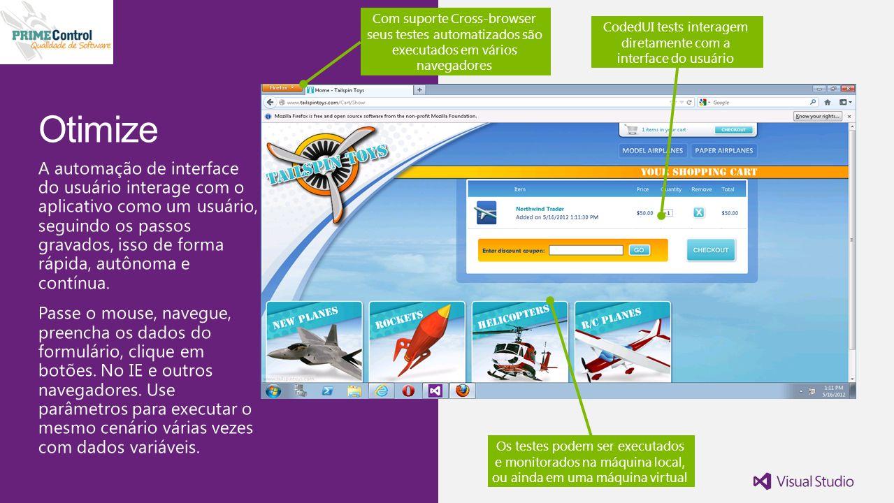 CodedUI tests interagem diretamente com a interface do usuário