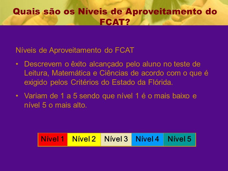 Quais são os Níveis de Aproveitamento do FCAT