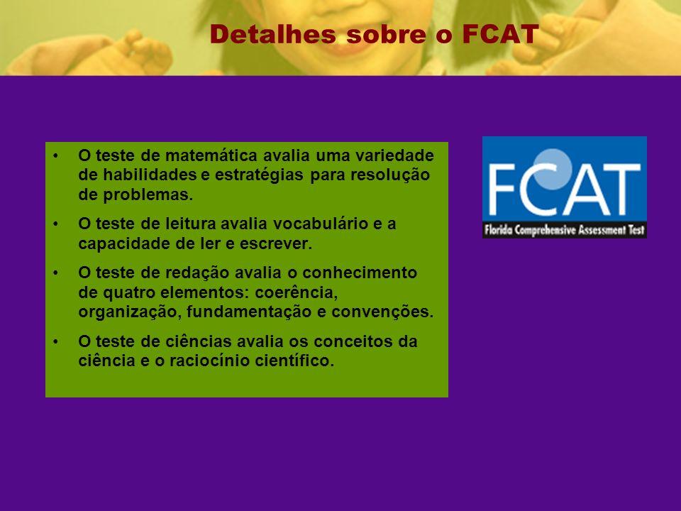 Detalhes sobre o FCAT O teste de matemática avalia uma variedade de habilidades e estratégias para resolução de problemas.
