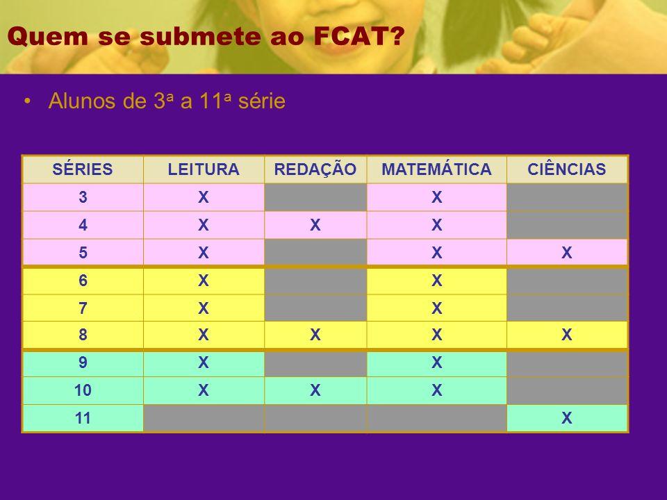 Quem se submete ao FCAT Alunos de 3a a 11a série SÉRIES LEITURA