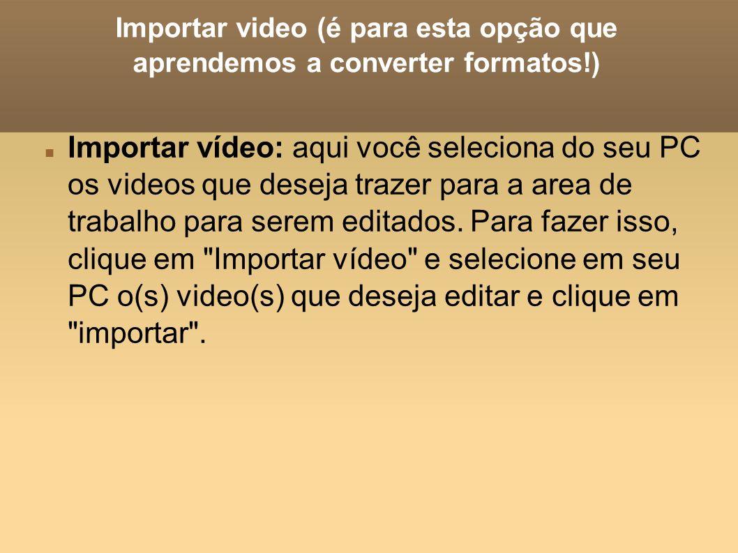 Importar video (é para esta opção que aprendemos a converter formatos