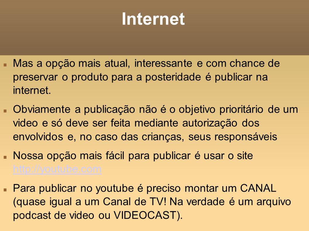 Internet Mas a opção mais atual, interessante e com chance de preservar o produto para a posteridade é publicar na internet.
