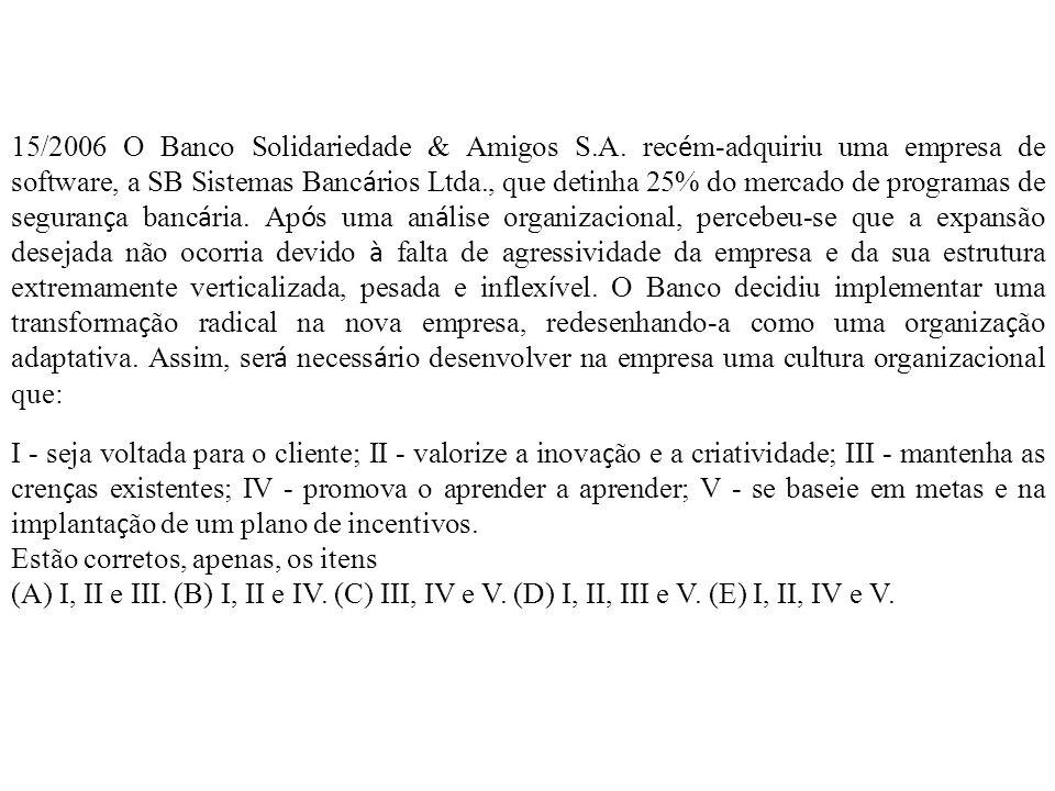 15/2006 O Banco Solidariedade & Amigos S. A