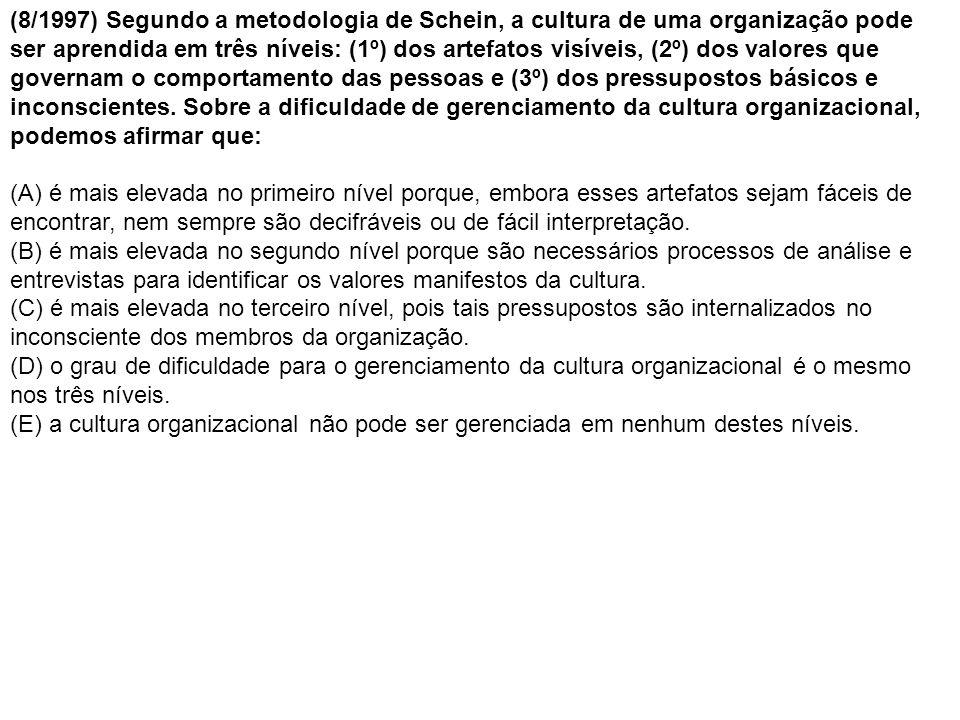 (8/1997) Segundo a metodologia de Schein, a cultura de uma organização pode ser aprendida em três níveis: (1º) dos artefatos visíveis, (2º) dos valores que governam o comportamento das pessoas e (3º) dos pressupostos básicos e inconscientes. Sobre a dificuldade de gerenciamento da cultura organizacional, podemos afirmar que:
