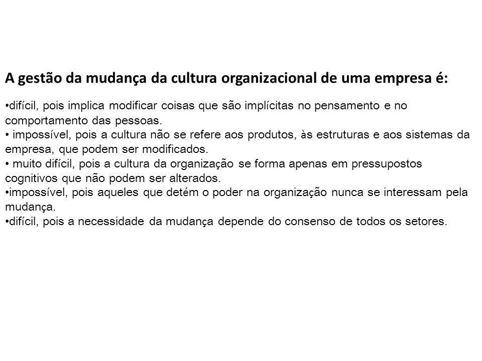 A gestão da mudança da cultura organizacional de uma empresa é:
